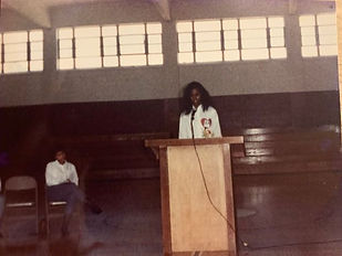 Riché Richardson, age 16, student council vice-president at St. Jude making speech during campaign for election as student council president in April of 1988