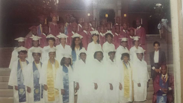 Riché Richardson, age 17, row 2, 5th from left, graduation night at St. Jude in 1989