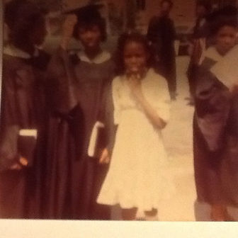 Riché Richardson with aunt Pam and friend Wilanie at Alabama State University graduation in 1979