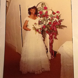 Pam as bridesmaid at wedding in 1981