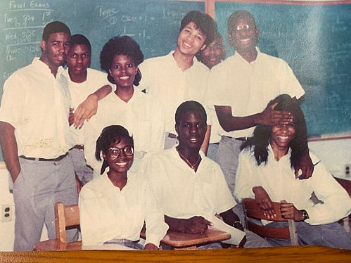 Riché Richardson with classmates at schoolmates at St. Jude, including Ernest Lyons, Jeffery Sanders, Wendy Davis, Eric Smith, Carey Owens, Christopher Thomas, Reginald Johnson, and Lisa Wells