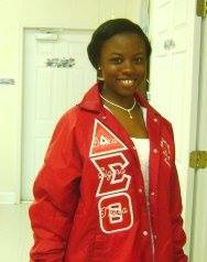 Megan in Delta Sigma Theta jacket