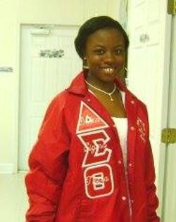 Megan in Delta Sigma Theta jacket