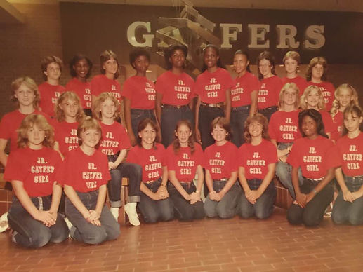 Riché Richardson, back row 5th from right, pictured as a Junior Gayfer Girl at age 12; photo taken in front of the fountain at Eastdale Mall in Montgomery, Alabama