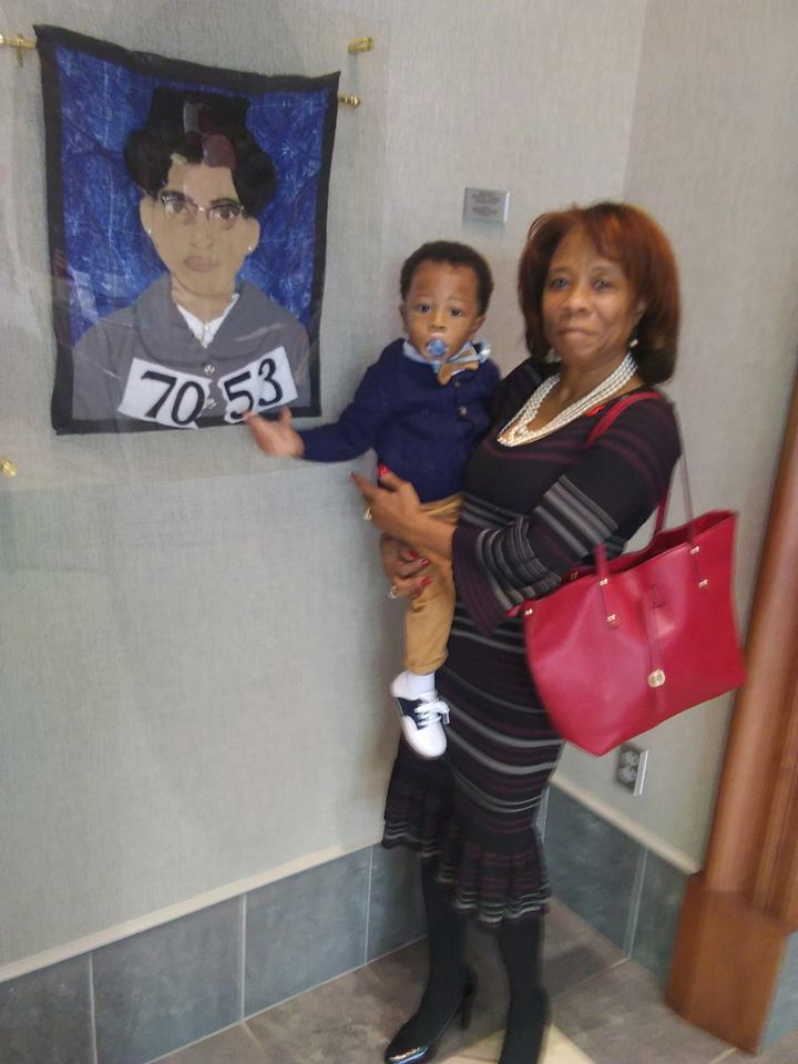 Kyrie, Pam and my Rosa Parks quilt