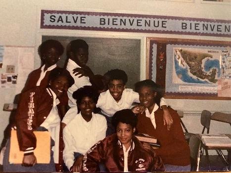 Riché Richardson with classmates at schoolmates at St. Jude (Daphne Hawkins, Henry Lawrence, Rhonda McKitt, Wendy Davis, Shari Eli