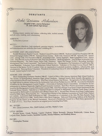 Riché Richardson's profile in the National Sorority of Phi Delta Kappa debutante cotillion in Montgomery, Alabama