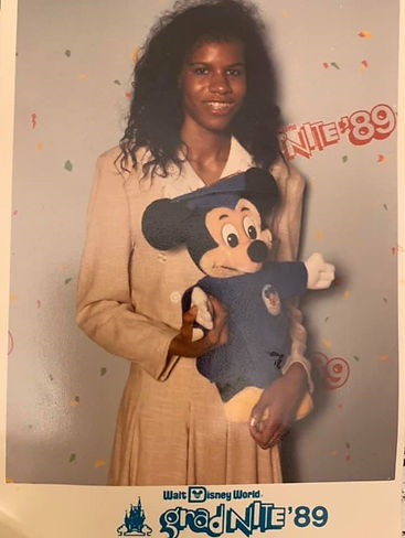 Riché Richardson, age 17, at Disney World during GradNite in May of 1989, on St. Jude senior class trip