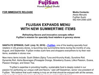 FujiSan Press Release: New Summertime Items