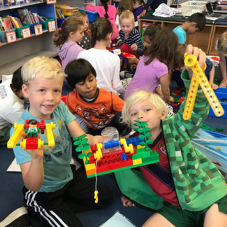 students working with STEM centers