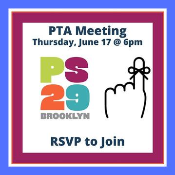 PTA Meeting, Thursday 6/17 @ 6pm