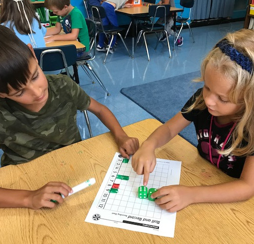students working on math together