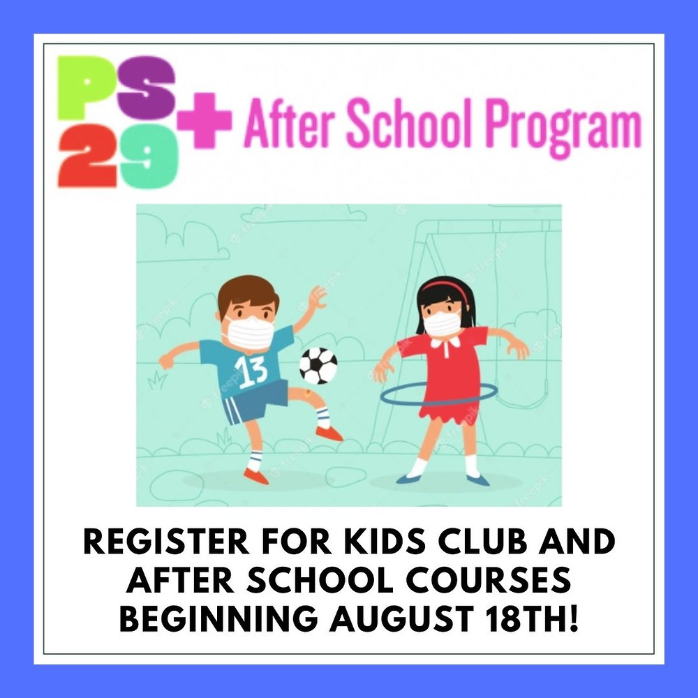 PS29+ flyer, clip art kids playing in masks