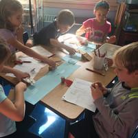 students building bridges together