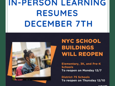 In-Person Learning Resumes Dec 7th