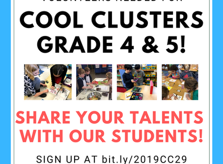 Cool Clusters for Grades 4 & 5 begin February 26th!