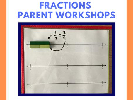 Fractions Parent Workshops with Ms. Van Duzer, for grade 3