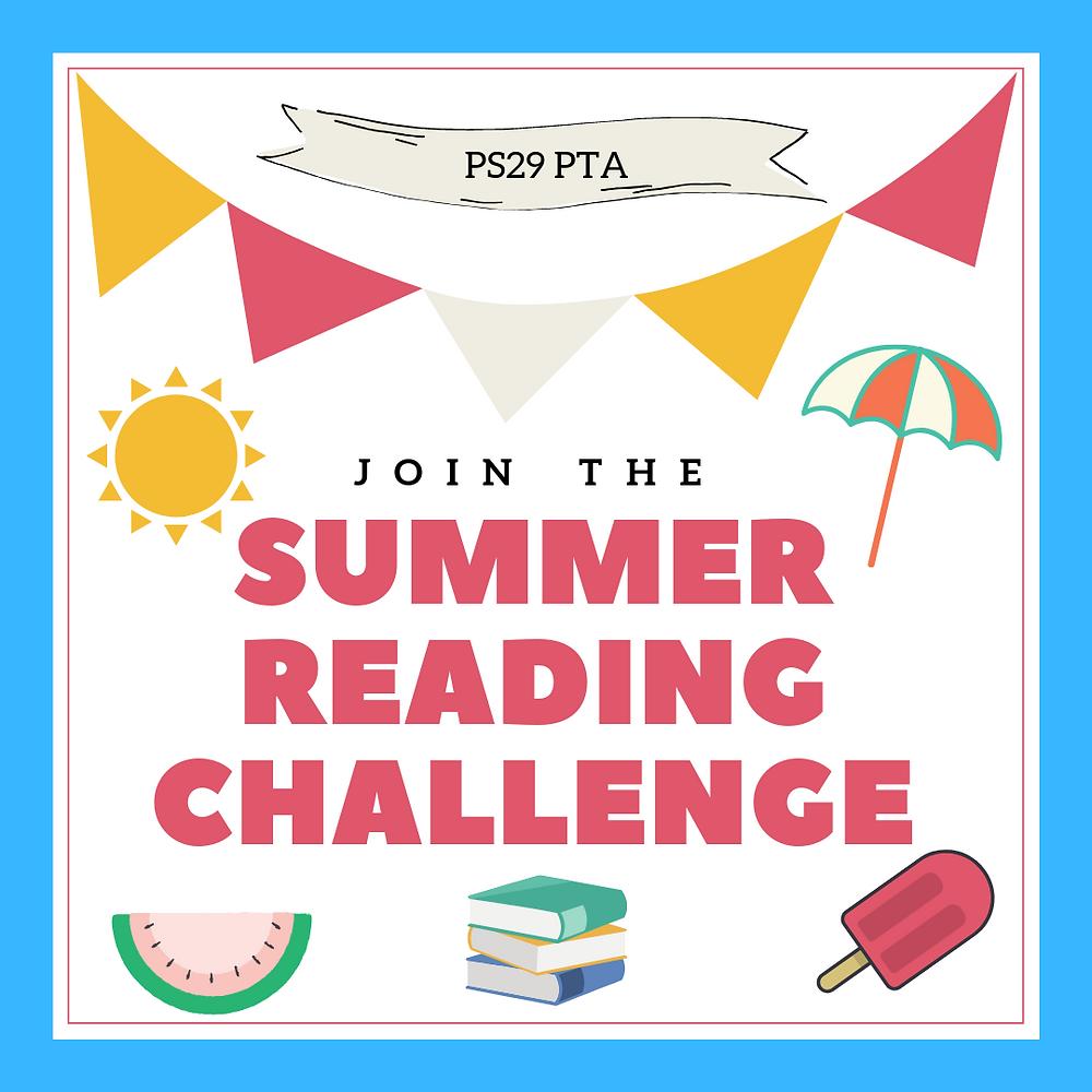 PS29 PTA summer reading challenge flyer