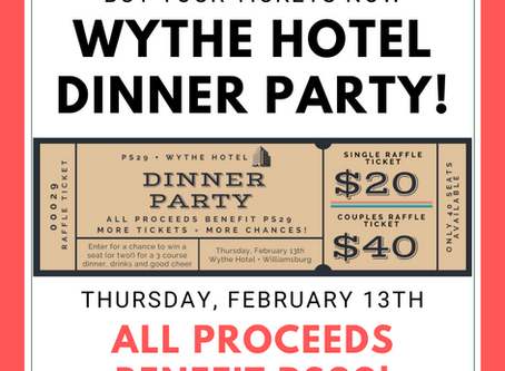 WYTHE HOTEL DINNER PARTY RAFFLE - BUY YOUR TICKETS NOW!