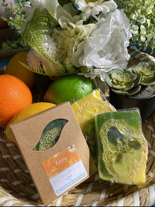 Citrus Handmade Soap Bar with Loofah