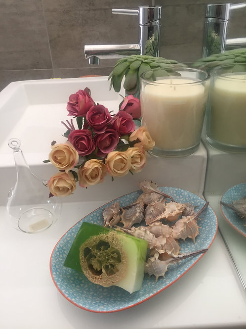 Jasmine Green Tea Handmade Soap Bar with Loofah