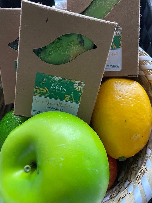 Green Apple Handmade Soap Bar with Loofah