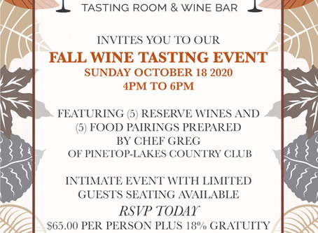 Fall Reserve Wine Tasting & Food Pairing Event