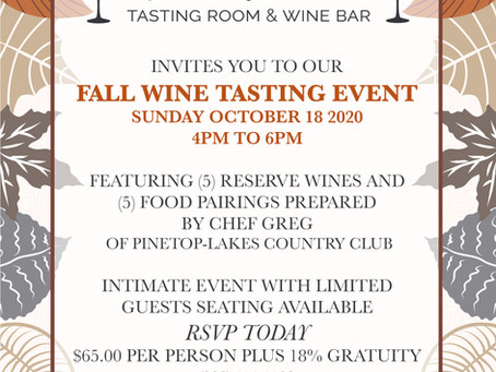 Fall Reserve Wine Tasting & Food Pairing Event