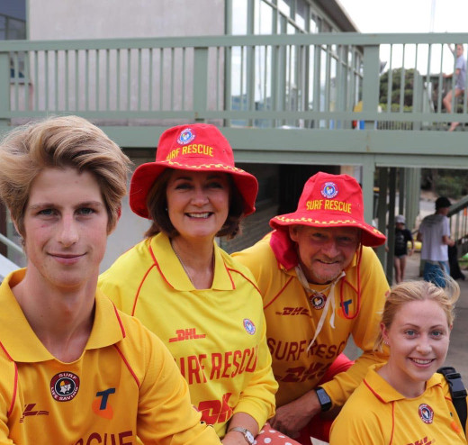 The Hon Sarah Henderson pictured with Fundraising chair Ingilby Dickson and volunteer lifesavers.