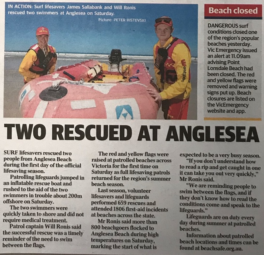 Two rescued at Anglesea image