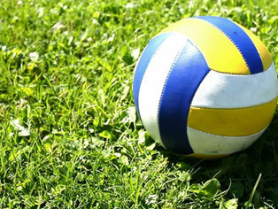 Volleyball on the lower grass