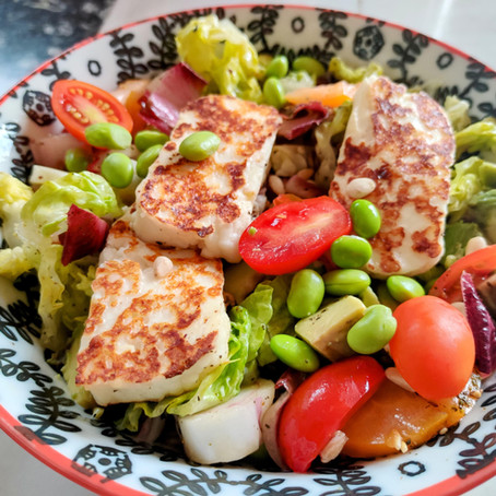 Recipe: Farro & Edamame Salad with Grilled Halloumi