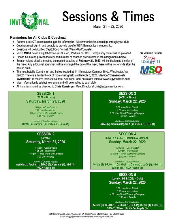 Shenandoah Invitational 2020 Sessions an