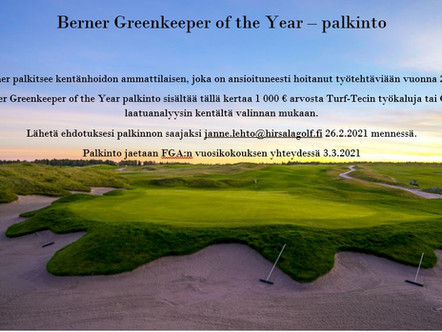 Berner Greenkeeper of the Year - palkinto taas jaossa!