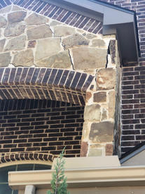 Brick stone exterior house with mortar c