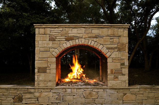 Large Stone Fireplace Double Sided