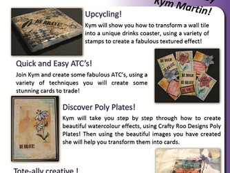 Kym from Crafty Roo will be conducting workshops at Create It - Telford - Hochanda Live Roadshow at