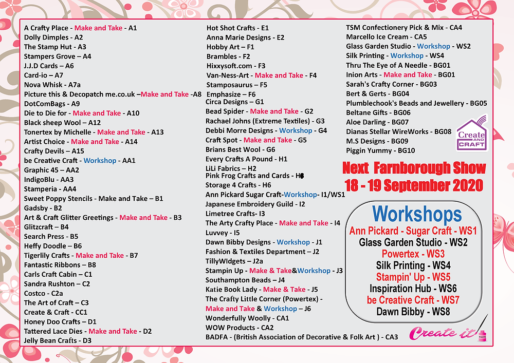 Create it Farnborough Exhibitors list