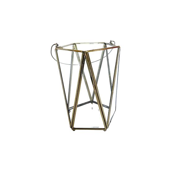 Gold Glass Geometric Lantern