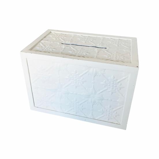 White Pressed Tin Box Wishing Well