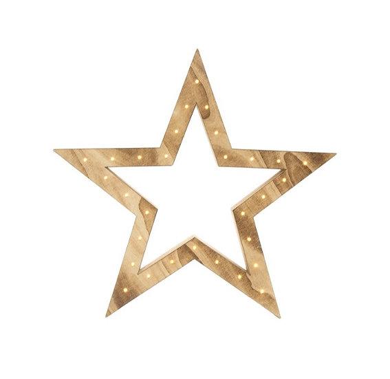 Light Up Wooden Star