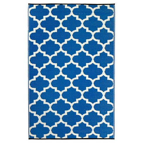 Blue & White Woven Beach Mat