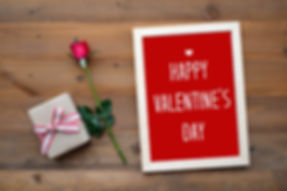 Happy valentine's day card, gift box and