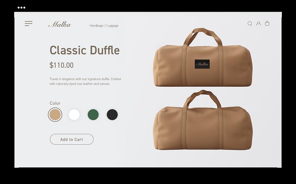 Página de produtos da Classic Duffle da Malka, uma marca de bolsas e malas.