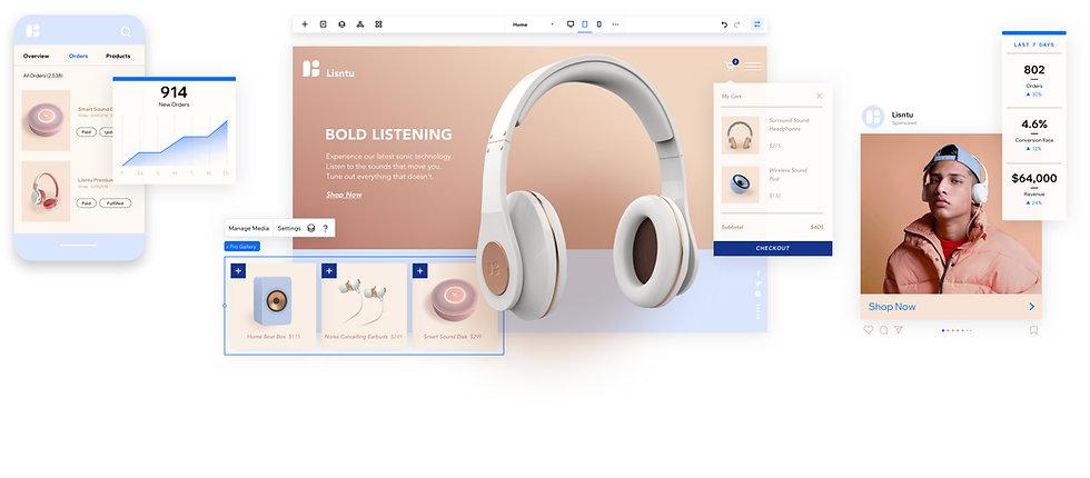 Miniaturas da loja virtual e análises da loja para Listnu, uma marca que vende fones de ouvido e alto-falantes de última geração.