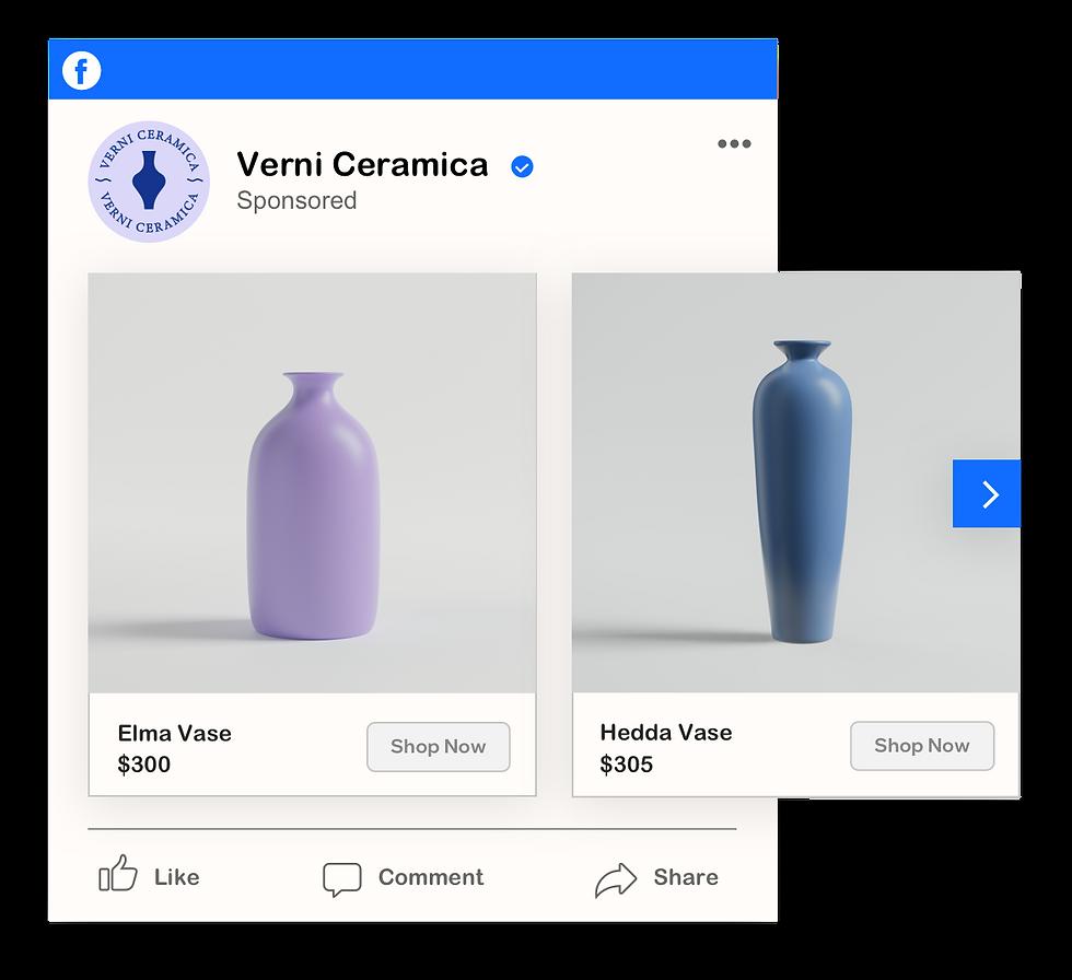 Anúncio patrocinado no Facebook que mostra os vasos Elma e Hedda da Verni Cerâmica.