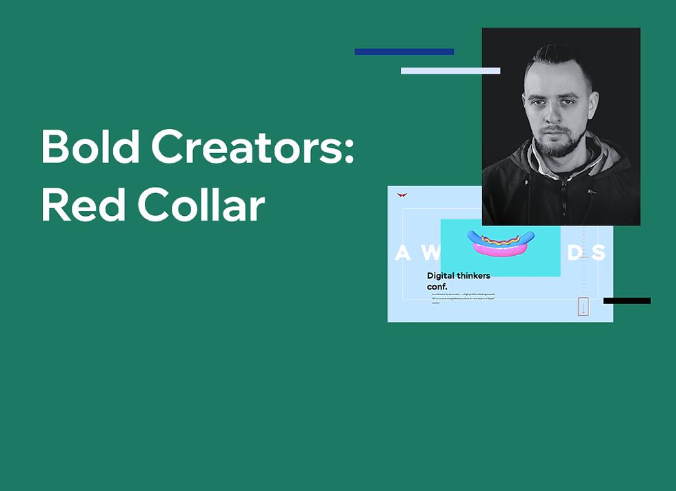 """Zdjęcie dyrektora generalnego i kreatywnego Red Collar Denisa Lomova oraz tekst """"Bold Creators: Red Collar""""."""