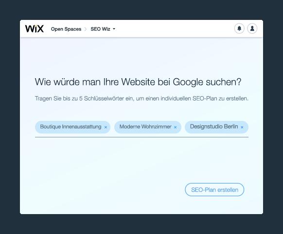 Tragen Sie die relevanten Schlüsselwörter in dem Wix SEO Wiz Tool ein