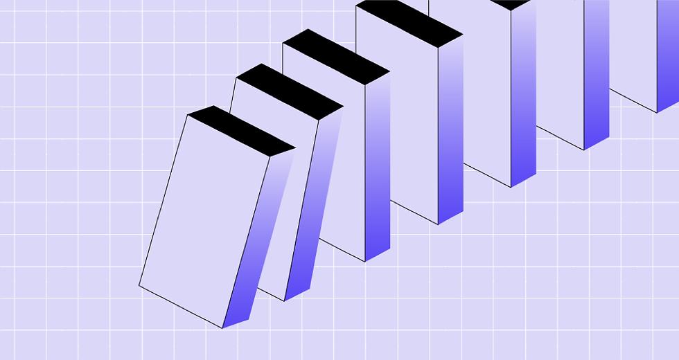 Bloki graficzne wpadające w efekt domina.