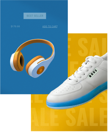 eCommerce product page for orange headphones, overlapping a sale promotion for white sneakers